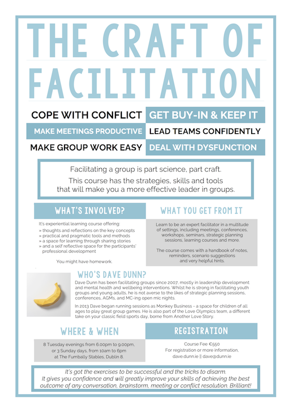 The Craft of Facilitation, level 2 group faciliation skills course by Dave Dunn